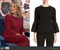 Jenna's red bell sleeve top with pearls on Today. Outfit Details: https://wornontv.net/81945/ #Today
