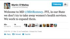 Great screen shot of @Governor Martin O'Malley welcoming Romney to MD!