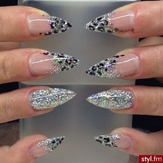 Silver sparkles, glitter with cheetah print stiletto nails