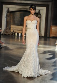Strapless Lace Mermaid Wedding Dress | Inbal Dror Wedding Dresses Fall 2015 | Maria Valentino/MCV Photo | Blog.theknot.com