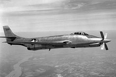 "McDonnell XF-88B. ""Designed for research into supersonic propeller design, it flew for the first time on 14 April 1953. Power was provided by two Westinghouse J34 turbojets and a nose-mounted Allison XT38 turboprop engine."" (via)"