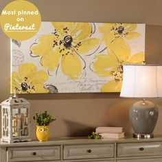 Paint a DIY Flower on Canvas - love the grey and yellow together!