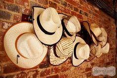Cowboy hats on wall