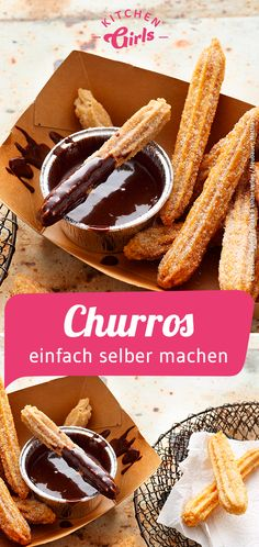 Recipe for churros with chocolate sauce: kitchengirls. - Recipe for churros with chocolate sauce: kitchengirls. Healthy Dessert Recipes, No Bake Desserts, Easy Desserts, 3 Ingredient Desserts, Desserts Sains, Banana Bread Recipes, Greek Recipes, Chocolate Recipes, Chocolate Churros