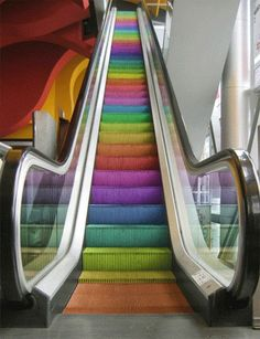 rainbow escalator stairs. Wish my shopping centre had some of these.