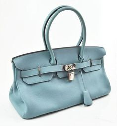 Hermes Ciel Blue Clemence Leather JPG Shoulder Birkin 2 42cm Handbag Bag PHW NEW