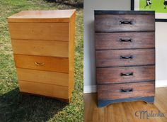 Industrial-chic dresser, before and after.