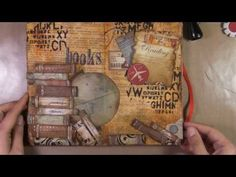 """books"" collage page. This is my favorite video! Only thing I would change would be to write the names of real books on the ones she made... Love the colors and everything"