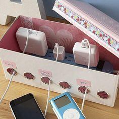 25 Genius Craft Ideas | Homemade charging station.