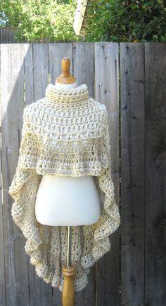 Cream BEIGE PONCHO TURTLENECK Crochet Victorian Poncho Feminine Capelet Chic Romantic Fashion Ruffled Original Hippie