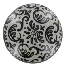 Gray & Black Damask Ceramic Knob