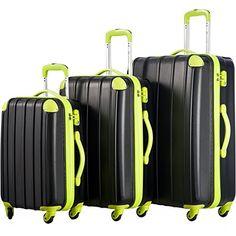Amazon.com | Merax Travelhouse 3 Piece Spinner Luggage Set with TSA Lock (Black) | Luggage Sets