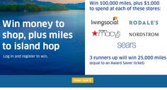 Win $7,500 in United MileagePlus Award Miles from United Airlines. Also when a $1,000 Shopping Spree to Macy's, Nordstrom, Sears, Living Social or Rodale's. Expiration Date: 7-13-2014, Contest Eligibility: US      Grand Prize – 100,000 Air Miles from United plus $1,000 Shopping Spree     3 others will win 25,000 Air Miles from United plus $1,000