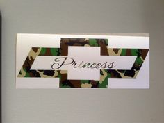 Camo Chevy Princess  Vinyl Decal Car Window by GreenMountainVinyl, $6.00