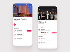 Event App - iPhone designed by Stano Bagin. Connect with them on Dribbble; Iphone Event, Event App, New Project Ideas, Pop Rock Bands, Iphone Design, Silver Spring, Pop Rocks, Show And Tell, App Design