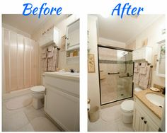 Complete Bathroom Remodel - New floor, updated vanity, glass walk in shower - feature strip - tile shower - grab bars - universal design - age in place design - Re-Bath of the Triangle Remodel