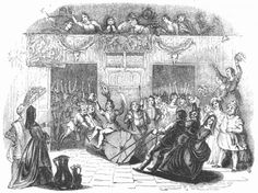 '1779. Bringing in the Yule Log on Christmas Eve' caption printed below picture. Print dated 1845. The first mention of the Yule log in Britain is a written account by the clergyman Robert Herrick, from the 1630s. Brought into the house by a group of males who were rewarded with free beer, the Yule log was seen as a magical protective amulet in traditional British rural culture.