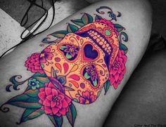 Colorful Sugar Skull Tattoo