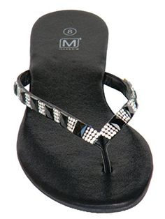 319937cf75bbe2 Maker Shoes Womens Sandal Black Rhine Zircon Stones on the Straps Sparkly  Soft Insole Trendy Classic Flip Flop 75 B M US     Click image for more  details.