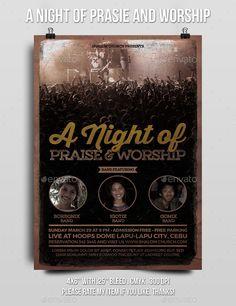 A Night of Praise and Worship Church Flyer (CS2, 4x6, album, alternative, band, christian, church, concert, fest, festival, gig, gospel, grunge, indie, kaaroger, live, music, party, pop, poster, praise, print, rock, singer, talent, vintage, worship, youth)