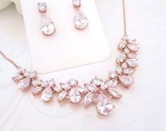 Rose Gold Hintergrund Halskette Bridal zurück von TheExquisiteBride