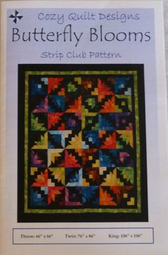 "Pattern,Quilt ,Throw,Butterfly Blooms by Cozy Quilt Designs, 2 1/2"" Strips, Jelly Roll, Strip Tube Ruler, pt145"