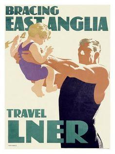 Bracing East Anglia - Travel LNER - Modern Printmakers: Tom Purvis ( British, 1888 - 1959) It's quicker by rail