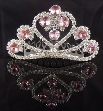 tall peacock beauty queen crowns | ... Bridal Pageant Pink crystal Lovely tiara crown Mini Comb HGY0906