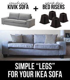 Savannah Smiled: New Couches | IKEA KIVIK using bed risers to increase height on the kivik sofa