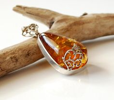 Cognac Baltic Amber Pendant, Amber And Sterling Silver Pendant, Genuine Amber Jewellery, Amber Gift For Her, Cognac Amber Drop Pendant