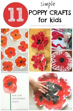 Poppy Crafts for Kids to make for Remembrance Day Anzac Day poppy craft made from paper plates. This activity is simple to do with toddlers, preschoolers and school aged children. Poppy Craft For Kids, Crafts For Kids To Make, Art For Kids, Remembrance Day Activities, Remembrance Day Poppy, Autumn Crafts, Holiday Crafts, Craft Activities, Preschool Crafts