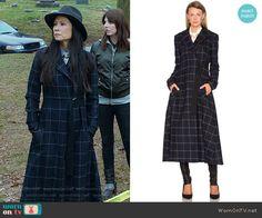 Joan's long checked coat on Elementary.  Outfit Details: https://wornontv.net/67600/ #Elementary