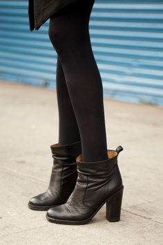 Harpers Bazaar editor Christine Whitney, in Opening Ceremony boots // #NYFW /// #StreetStyle Badass boots to obsess over here <3