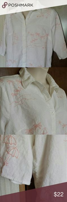The sweetest tropical themed plus size shirt Linen-rayon blend material is a treat to wear, this button front shirt has darling embroidery in pink, three quarter sleeves, and a roomy cut, all with a tropical beach theme. In excellent used condition. Size tag is missing but this top fits 2X/3X. CJ Banks Tops Button Down Shirts
