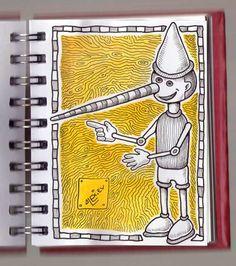 Ilustrador Alexiev Gandman: Ilustración de Pinocho en mi anotador