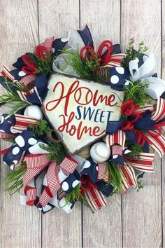 Summer of July wreath created by Trendy Tree Marketing Group member Welcome to the April 2019 showcase of beautiful wreaths and centerpieces! These stunning creations were made by designers in the Trendy Tree Marketing Baseball Wreaths, Sports Wreaths, Baseball Gifts, Softball Wreath, Baseball Teams, Baseball Field, Trendy Tree, Wreaths For Front Door, Door Wreaths