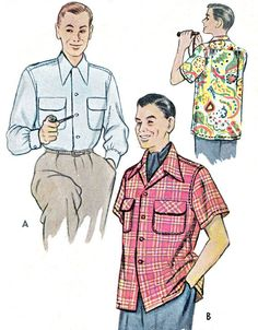1950s Mens Shirt Pattern McCall 8335 Mens Yoked Button Down Oxford Shirt Front Button Shirt Mens Vintage Sewing Pattern Neck 16 - 16 1/2