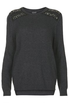 shoulder embellished jumper / topshop