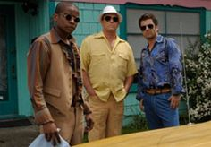 """Gus, Henry and Shawn don groovy 70s clothes as a disguise in the episode """"Disco Didn't Die, It Was Murdered."""""""