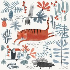 "Asa Gilland on Instagram: ""My portfolio is definitely a bit heavy on tigers and I wasn't going to draw another one but then again, tigers are just too awesome.…"" Tiger Art, Another One, My Portfolio, Kids Rugs, Drawings, Illustration, Pattern, Animals, Tigers"