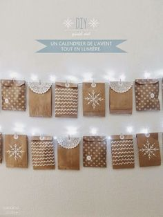 OUI OUI OUI studio Advent calendar idea - hang on white light string, little paper bags with activities or treats Christmas Mood, Noel Christmas, Christmas Crafts, Christmas Decorations, Xmas, Advent Calenders, Diy Advent Calendar, Christmas Calendar, Christmas Countdown