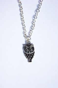 Silver Owl Charm Necklace by Mabooshka on Etsy, £5.00