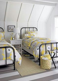 Attic bedroom, love the colors
