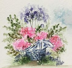 Another spring basket! ❤️ I feel like I need to get one more of these in before the first day of fall tomorrow! Watercolor Art, Colorful Art, Art Painting, Watercolor Stamps, Painting, Watercolor Flowers, Art, Watercolor Images, Art Impressions