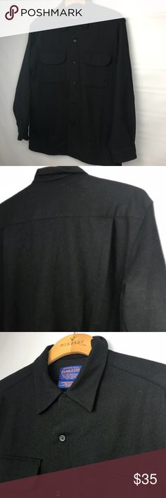 """PENDLETON Button down shirt black size Mens S Pendleton button down shirt. Black. Size Mens Small. 100% Pure Virgin wool. Pit to pit 21"""". Length is 27"""". Sleeve is 22"""". This is a used item. Pendleton Shirts Casual Button Down Shirts"""