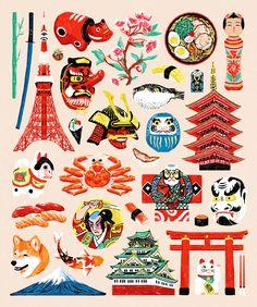 Aka on behance japan icon, japan illustration, pattern illustration, japan Japan Illustration, Pattern Illustration, Japan Design, Japan Icon, Daruma Doll, Art Asiatique, Japanese Folklore, Japanese Graphic Design, Japan Art