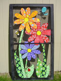 33 Ideas Screen Door Repurpose Window Panes For 2019 Painted Window Screens, Old Window Screens, Window Art, Window Panes, Window Ideas, Art Installation, Old Windows, Vintage Windows, Recycled Windows