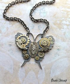 Steampunk Butterfly Necklace - Custom Design Silver Steampunk Butterfly with Gears and Clock Face. $65.00, via Etsy.