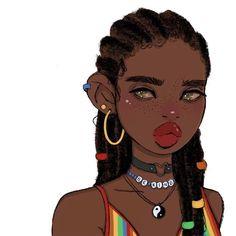 Black Girl Cartoon, Black Girl Art, Black Women Art, Art Girl, Black Art, Different Art Styles, Cute Art Styles, Black Anime Characters, Arte Sketchbook