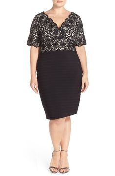 Adrianna Papell Lace & Shutter Pleat Sheath Dress (Plus Size) available at #Nordstrom